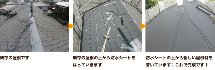 防水シートの上から新しい屋根材を葺いています